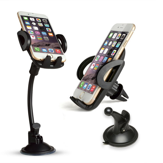 5-in-1 Car Mount Holder - FIXM 5 in 1 Universal Car Phone Mount Holder - Air Vent Holder, Dashboard Mount and Windshield Mount for iPhone 4 4s 5 5s 6 GPS Sangsung Galaxy S6 S7 A5 A7 and Other Phone (S