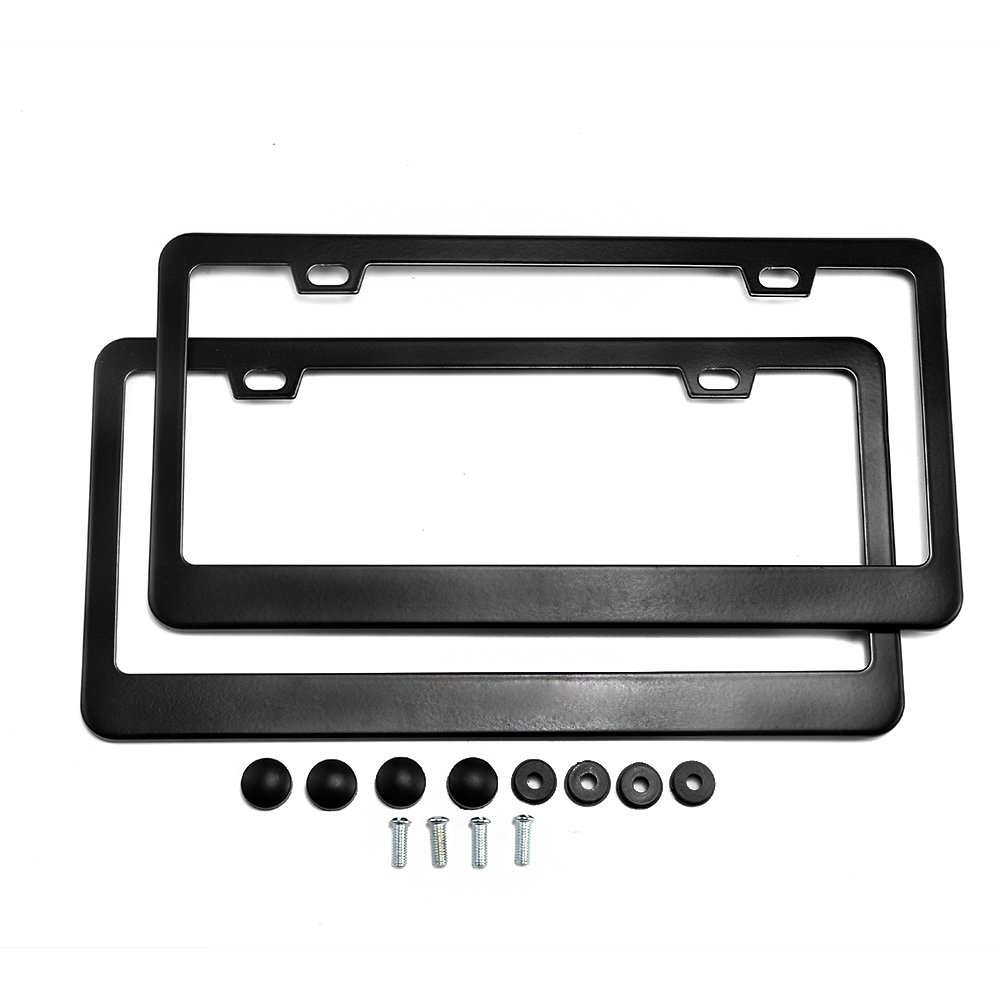FIXM Aluminum License Plate Frame with Screw Caps, 4 Holes Stainless Steel Plate Holder for All Standard U.S. License, 2 Packs - Black