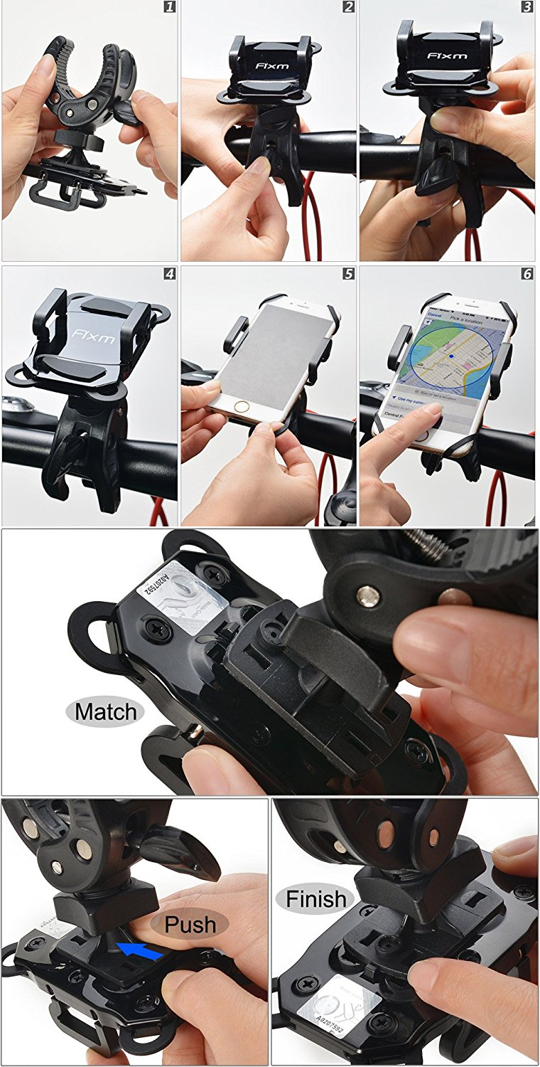 Bike Mount Phone Holder, Fixm Universal Bicycle Motorcycle Baby Carriage Mount Holder Cradle with Bonus of Strap & Lanyard, Super-Secure & 360 Degree Rotation for iPhone 7/7 Plus Samsung Galaxy S7/S7E