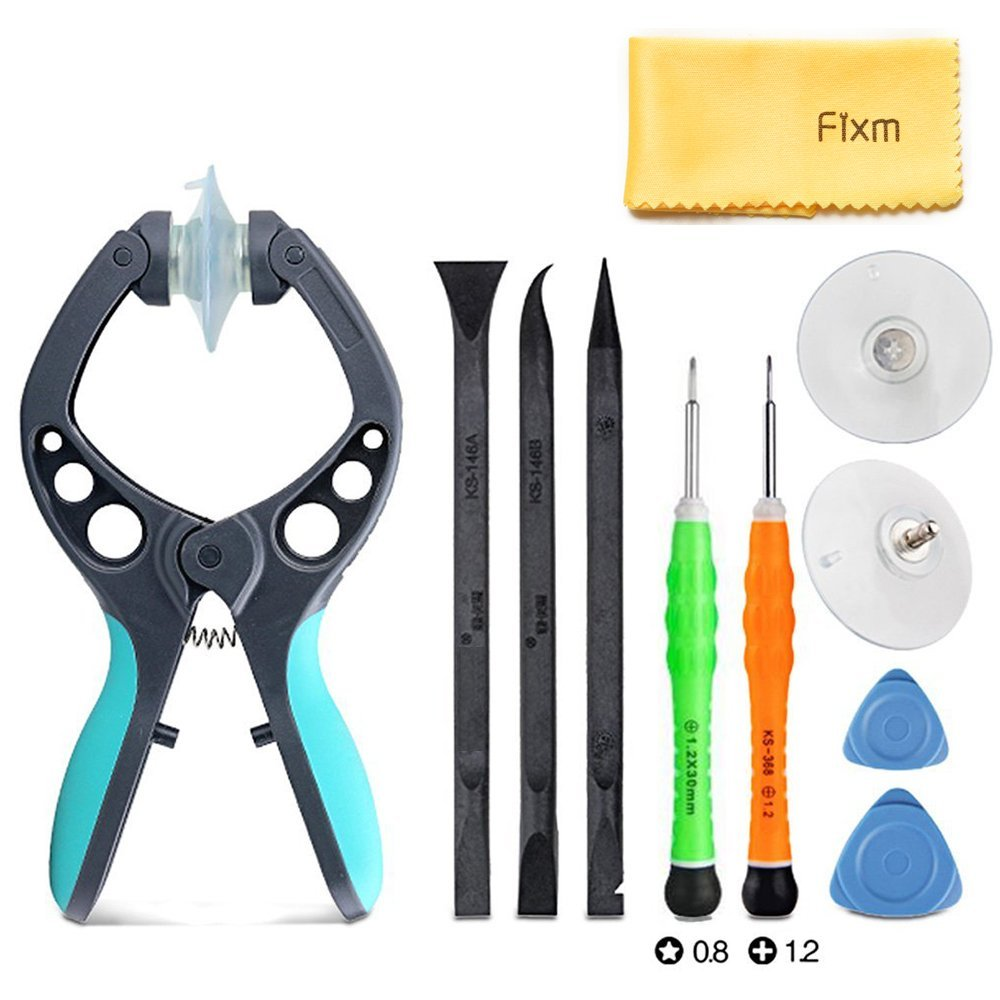 Fixm Professional Opening Pry Pliers Tool Repair Kit (11 Pcs/Lot) with Chuck for opening screen and Non-Abrasive Nylon Spudgers, 11 Piece Set