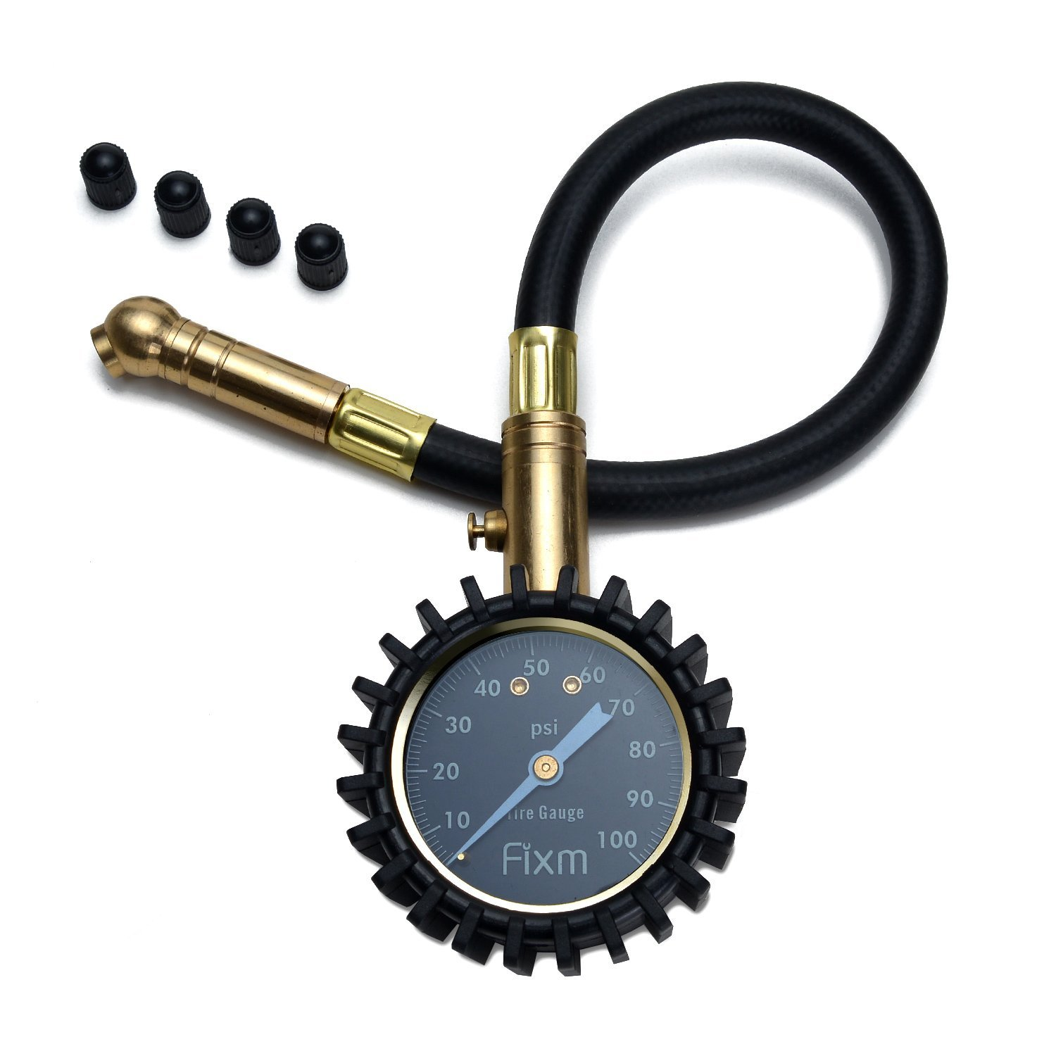 FIXm 100 PSI Precise Car Tire Pressure Gauge(With Tube) with Valve Caps Accurate Heavy Duty Dial, Excellent for Cars, Trucks, Bicycles and Motorcycles, RV, SUV and ATV