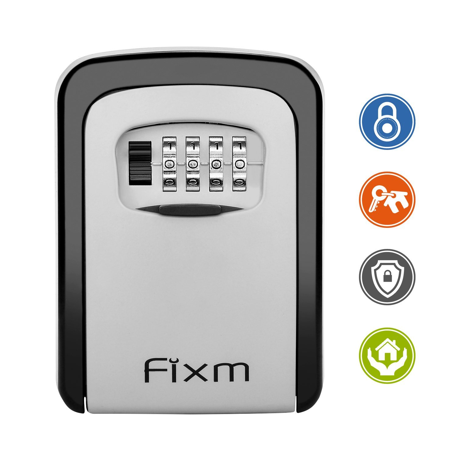 Fixm Combination Key Storage Lock Box,Wall Mounted 4-Digit Resettable Key Safe Storage Box,Resettable Code-Holds 5 Keys