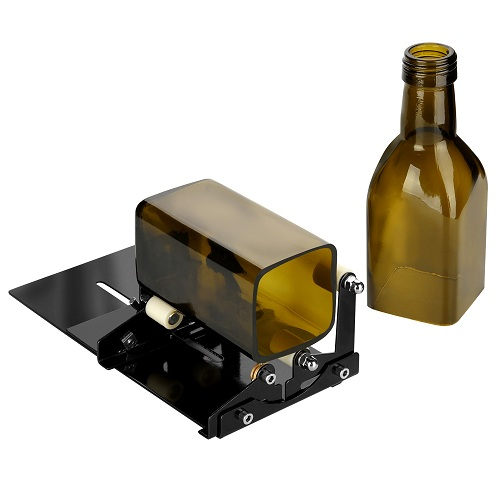 Glass Bottle Cutter, Fixm Square & Round Bottle Cutting Machine, Wine Bottles and Beer Bottles Cutter Tool with Accessories Tool Kit(Upgrade Version)