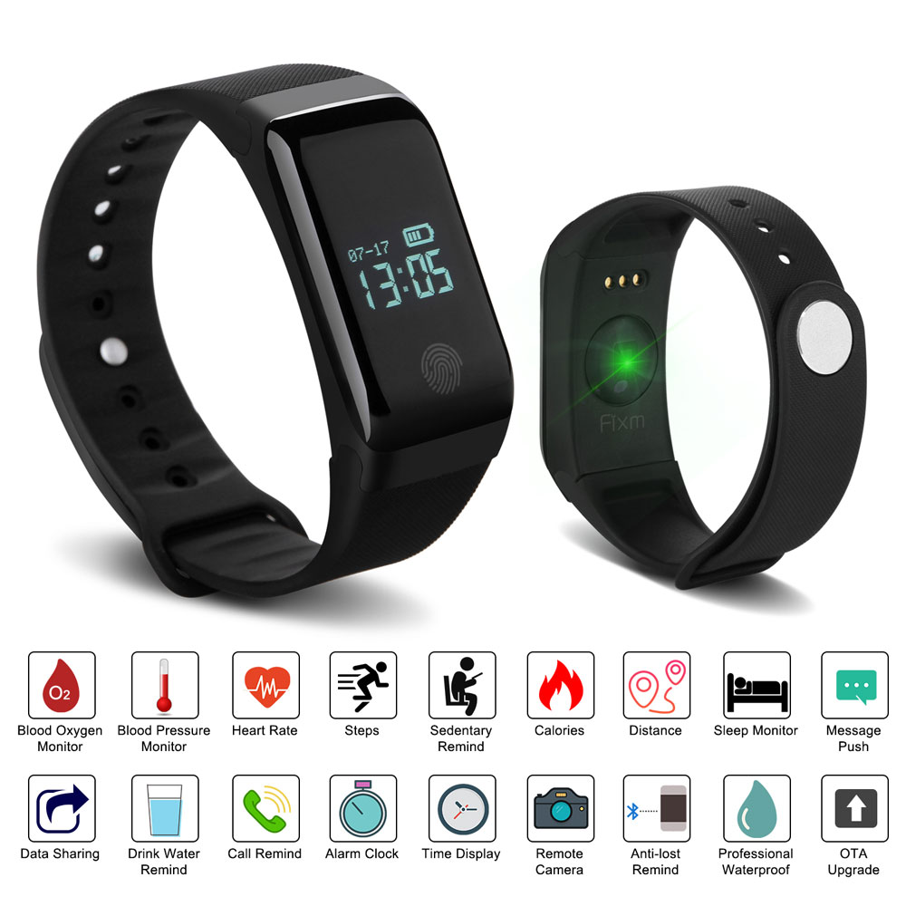 Fixm IP67 Waterproof Fitness Tracker Smart Wristband Heart Rate Blood Pressure Oximeter Blood Oxygen Sleep Monitor